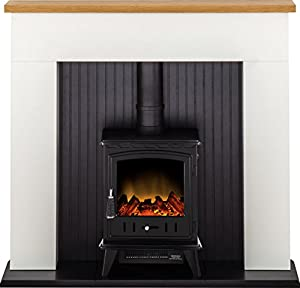 Adam Innsbruck Stove Suite in Pure White with Aviemore Electric Stove in Black, 48 Inch