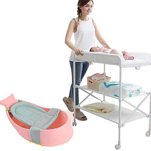 Tables à langer Bébé Pliante Multifonctionnelle Portable Soins du Bébé Nouveau-né Bath Massage, Rose
