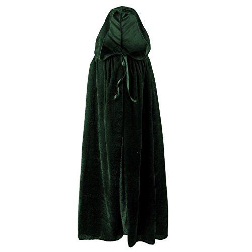 Grüner Umhang Kapuzen (Halloween Umhang Karneval Fasching Kostüm Cape Vampir Cosplay mit Kapuze Einheitsgröße für Kinder von ca. 8-10 Jahre Unisex von Discoball®)