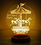 Sentidos Personalisiertes Geschenk 3D Led Lampe, Wunschtext, Schlummerlicht, Farbwechsel Dekor Lampe (Karusell) - Sevgi Lambası