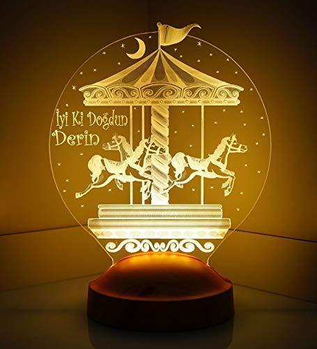 Sentidos Personalisierte Geschenke Baby 3D Led Lampe, Wunschtext, Schlummerlicht, Farbwechsel Dekor Lampe (Karusell) - Sevgi Lambası