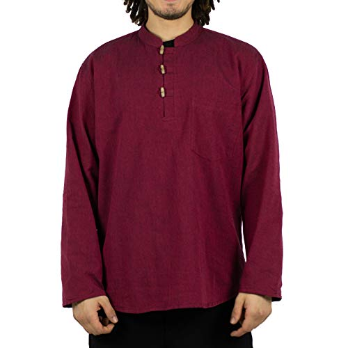 KUNST UND MAGIE Herren Fischerhemden bequemer Schnitt Klassische Farben in verschiedenen Größen, Größe:XXL, Farbe:Bordeaux