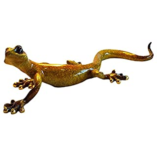 Aljec Large Yellow Speckled Gecko, Metal, 34 x 14 x 9 cm