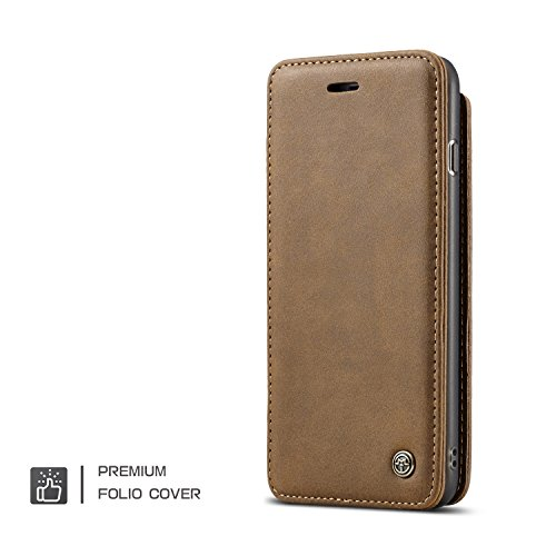 Handy-Hüllen & Hüllen, Für iPhone 6s / 6 Fall, iPhone 6s / 6 Wallet Case, CaseMe Premium PU Leder Flip Wallet Case mit Kartensteckplatz, abnehmbarer Magnetischer Fingerring ( Farbe : Coffe ) Braun