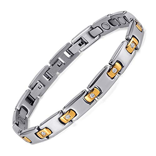 XAM Edelstahl Herren Magnetarmband, Schlanke Magnetfeldtherapie Armband, Gesundheit Energie Armband, Für Arthritis Schmerzlinderung - Lang Anhaltende Schmerzlinderung