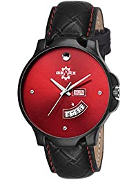GEARZ Wrist Watch For Young Generation | Black & Smoking Red Watch With Day & Date | Stylish Leather Strap Watch...