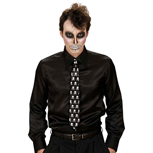 Totenkopf Krawatte Skull Schlips Satin Totenschädel Binder Rock Tie Party Satinkrawatte Halloween Kostüm (Kostüm Party Halloween Für Rock)