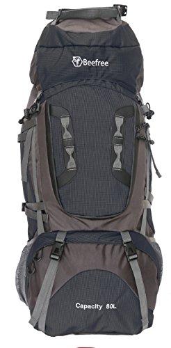 Beefree 80L Caricatore Frontale Viaggio Zaino Trekking Escursionismo Alpinismo Arrampicata Campeggio per Uomo Donna (Nero 80L)