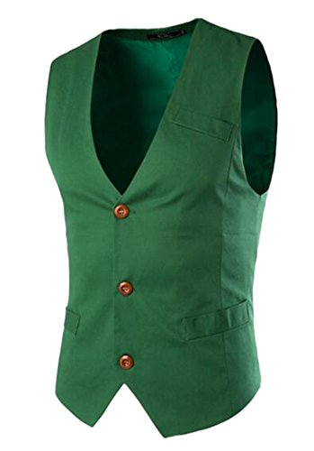 DD UP Herren Slim Fit Grund Fest Farbe Brautkleid Anzug Weste Blazer (Herren Weste Grün)