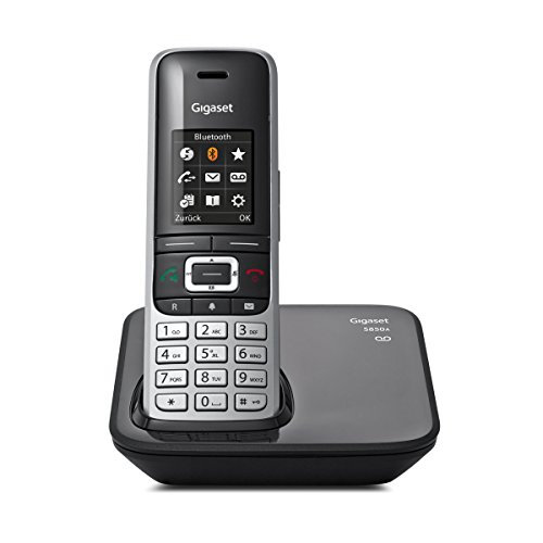 Gigaset S850A Telefon - Schnurlostelefon / Mobilteil - mit Farbdisplay / Dect-Telefon -  Anrufbeantworter - schnurloses Telefon - mit Freisprechen - platin schwarz Telefone Mit Bluetooth