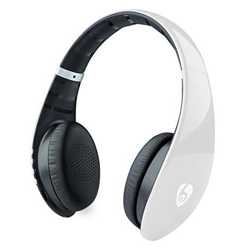 Auriculares Bluetooth Auriculares inalámbricos Hi-Fi estéreo con micrófono incorporado y soporte para altavoz Llamadas manos libres Tarjeta micro SD FM para escuchar música en casa Deportes Viajes - Blanco