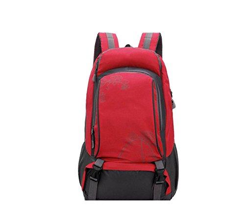 Yy.f Outdoor Nylon Rucksack Reisen Trekking Camping Rucksack Bergsteigen Tasche Große Freizeit Tag Tasche College Rucksack Schultertasche. Mehrfarbig Red