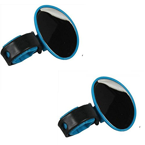 Delmkin Fahrradspiegel 2pcs Fahrradlenker Rückspiegel - 360-Grad-Drehung (Blau)