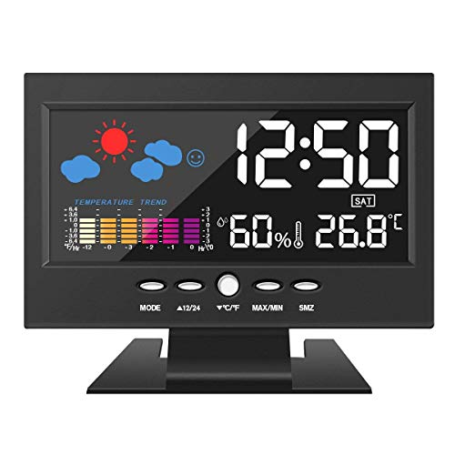 Higrómetro termómetro DIGOO, estación meteorológica a color, reloj despertador digital con función...