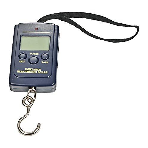 Balanza Ergonómica LCD Báscula/ Escala Pesca digital 110lb/50kg para Maletas Equipaje de Viaje Báscula con luz de fondo, mostrará la temperatura Función