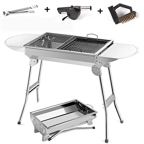 CHUDAN Tragbarer rostfreier Grill, Faltbarer Holzkohlegrill, Outdoor BBQ Camping Grill Picknick-Grill für Garten Camping Park Festivals Party Barbecue