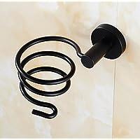 HSBAIS Secador de Pelo Titulares de Baño secador de Gancho de Almacenamiento en Rack Negro baño