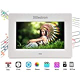 XElectron® DPF703 7 inch LED Digital Photo Frame/Video Frame with 1280×720, 720P Support Resolution, Plays Images, Video & Music, USB/SD Card Slot, with Remote (White)