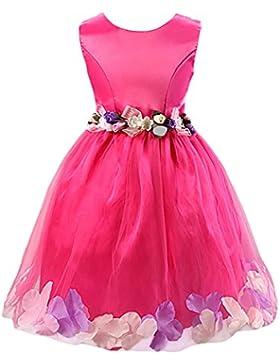 Happy Cherry Mädchen Rundkragen ohne Ärmel Tüll Blumenmädchenkleid Brautkleid Ballkleid Cocktailkleid mit Blumen...