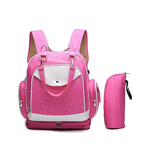 Wickeltasche Rucksack Mode Multifunktions Schulter Mamabeutel Diagonal Mobile Baby Outing Rucksack, Rose Red