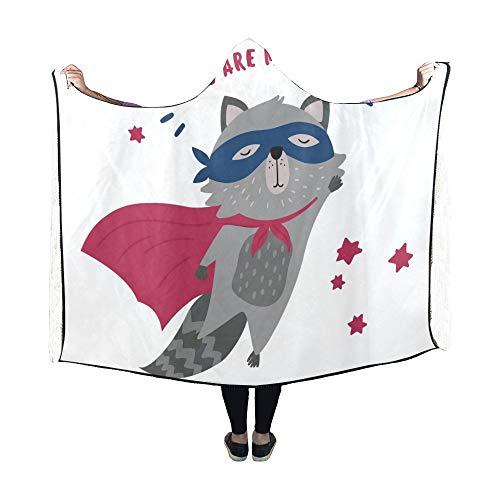 JOCHUAN Mit Kapuze Decke niedlichen Waschbären Superhelden Kostüm Sie Meine Decke 60 x 50 Zoll Comfotable Hooded Throw Wrap