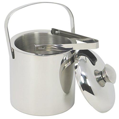 (COM-FOUR® Eis-Eimer aus rostfreiem Edelstahl, Eis-Würfel-Behälter doppelwandig mit Deckel und Zange, 1,3 Liter (01 Stück - 1.3Liter))