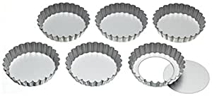 KitchenCraft Fluted Metal Tartlet Tins with Loose Bases, 10 cm (Set of 6)