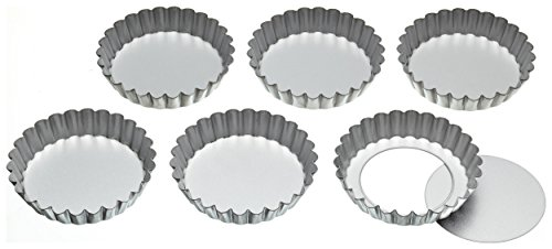 Kitchen Craft Lot de 6 mini-moules à tarte/flan à base amovible 10 cm