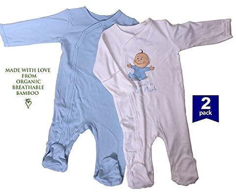 Easy Mom and Baby - Grenouillère - Bébé (garçon) 0 à 24 mois Blanc Boy 2 pack 0-3 mnths