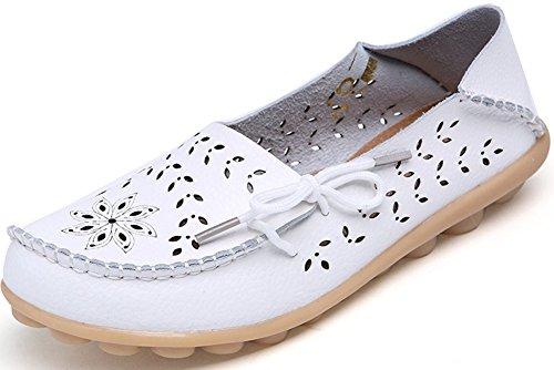 Yomarket scarpe mocassino casual da donna in vera pelle, guida piatto scarpe stringate traspirante White