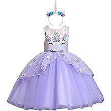 Costume da Principessa Unicorno per Bambina con Vestito Lungo Compleanno  Abiti Bambini Carnevale Halloween Cosplay Abito 20592b25f01