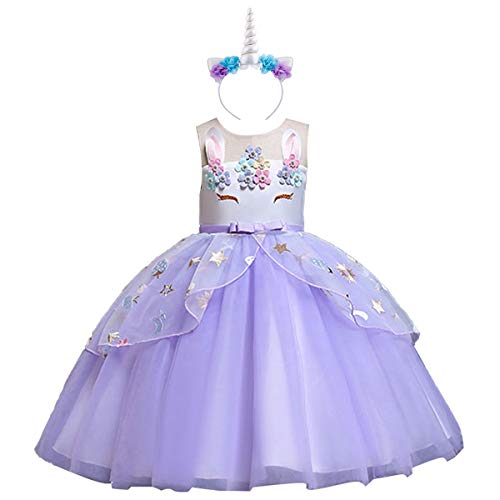 OBEEII Mädchen Kinder Kleid Prinzessin Kleid Einhorn Festlich Kleid Hochzeit Partykleid Festzug Kostüm Unicorn Costume Fancy Dress Up 6-7 Jahre (Festzug Fancy Dress Kostüm)