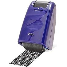 PLUS Japan, Datenschutz Rollstempel Camouflage in Blau, Textschwärzer, Identitätsschutz, 1er Pack (1 x 1 Rollstempel)