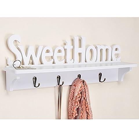 Gardrobenleiste aus Holz, Sweet Home, mit 4 Haken aus Metall, weiß - Holz Garderoben Kleider Haken Wand Dekoration