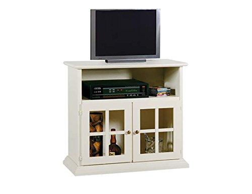 Legno&Design Meuble vitrine Porte TV TV avec 2 Portes en Verre et 1 Compartiment à Jour en Bois