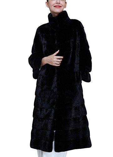 Donna lungo giacca invernale parka di pelliccia sintetica invernale elegante cappotto maniche lunghe m nero