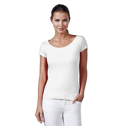 Neverless® Basic T-Shirt Damen Slim Fit Baumwolle einfarbig Weiß