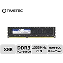 Timetec® (P/N 75tt133u2r8 – 8 G) 8 GB 1333 MHz DDR3 (PC3 – 10600) non-ECC unbuffered Dual Rank CL9 240-pin UDIMM 2Rx8 512 x 8 1,5 V COMPUTER (Samsung Buffered Memoria)