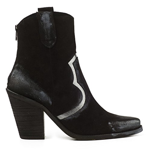 Buffalo Damen Stiefeletten Boots Cowboy Booties 4626 Suede Cromo Leder Zip (41, Schwarz) (Leder Cowboy-stiefel Buffalo)