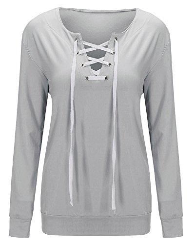Chemisier Femme Col V Manches Longues Bandage Casual Tops Chemise Blouse Gris