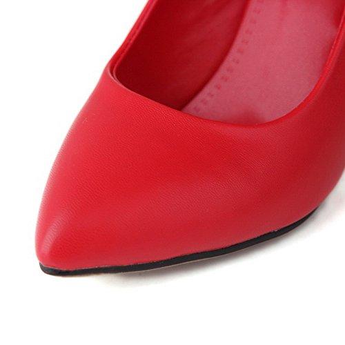 VogueZone009 Femme Boucle Stylet Pu Cuir Couleur Unie Fermeture D'Orteil Pointu Chaussures Légeres Rouge