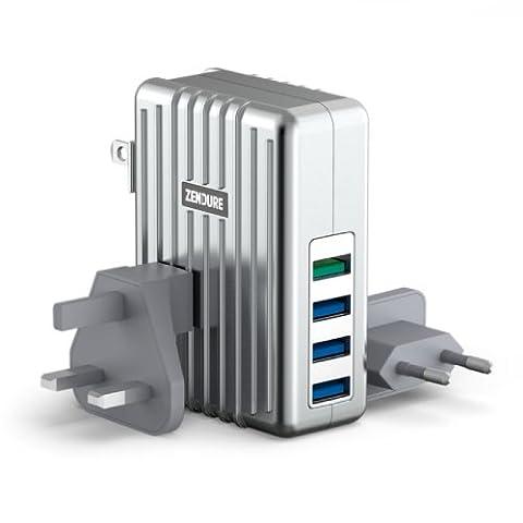 Zendure 40W 4-Port QC2.0 USB Ladegerät Adapter Netzteile mit EU/UK/US AC Weltreise Steckdosen, QuickCharge Technologie Ladegerät zum schnelleren Aufladen für iPhone, iPad, Samsung Galaxy, Nexus, HTC, Motorola, LG und weitere Smartphones/Handys,