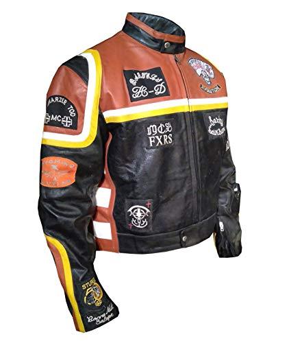 paramount-fashion Mickey Rourke Biker-Stil Motorrad Kunstleder Lederjacke orange- M