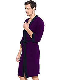 Labno New Men's Cotton Free Size Full Sleeve Bath-Robe In Double Shaded Navy Blue-Purple Color, 500 GSM
