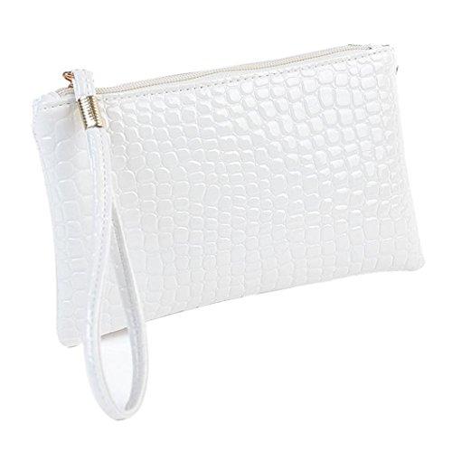 brieftasche damen Kolylong Frauen Kupplung Messenger Schultertasche (Weiß) (Wallet Vinyl-tri-fold)