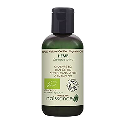 Naissance Organic Cold Pressed Hemp Seed Oil 100ml – Certified Organic, Vegan, Unrefined. Rich in Omega 3, 6 and 9 by Naissance