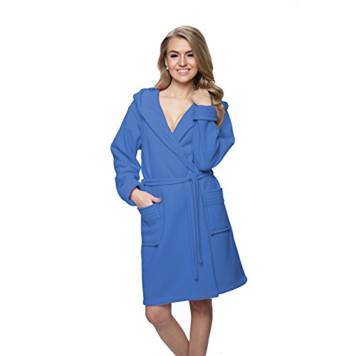 Bademantel Damen Kurz Morgenmantel mit Kapuze Leichter Hausmantel Blau