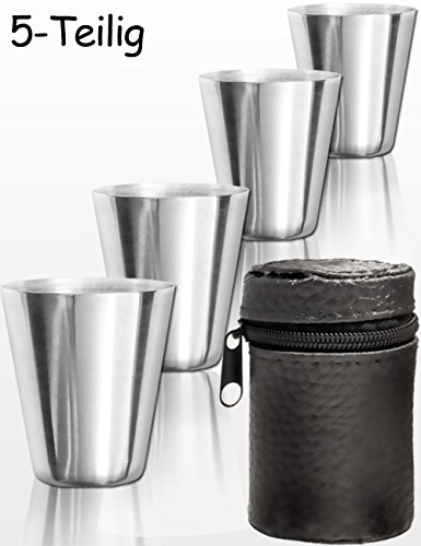 Outdoor Saxx 5-Teiliges Edelstahl Trink-Becher Set | Genuss-Spass-Set, Whiskey Kräuter-Schnaps | Tolles Geschenk, unzerbrechlich, mit Leder Tasche (4 Stück Leder-set)
