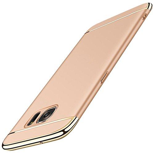 Wouier Samsung Galaxy S7 Edge Hülle 3 in 1 Ultra Dünn PC Harte Case mit Bumper Schutz Anti-Kratzer Stoßdämpfende Handy Tasche für Galaxy S6 Edge (Samsung Galaxy S7 Edge, Gold)