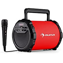 auna Dr. Bang! 2.1 cassa acustica dispositivo speaker portatile (Bluetooth, batteria integrata, porta USB SD MP3, ingresso AUX, microfono incluso) - rosso